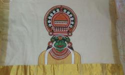 hand painted mural saree kasavu trafitional