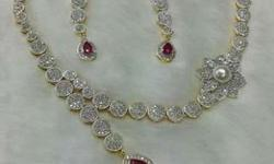 Necklace sets american diamond nd chowki stones