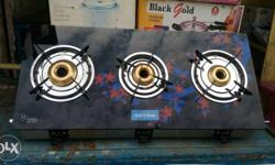 New Black pearl glass top Gas Stove Toughened Glass