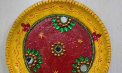 Yellow And Red Stud Decorative Plate