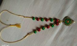 Green And Red Silk Thread Necklace