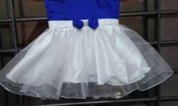 Toddler Girl's Blue And White Mini Dress