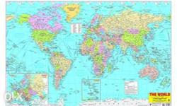 new India n world maps 100�70cms