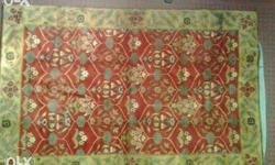 Red Beige And Green Floral Area carpet, it is new .it