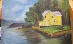 Oil painting in canvas (lake house)