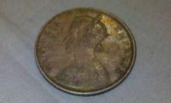 one Indian one rupee silver coin 1877