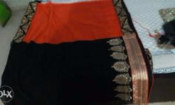 Orange n Black Colour New Designer Saree with stitched