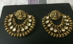 Antique look Kundan work in copper polish