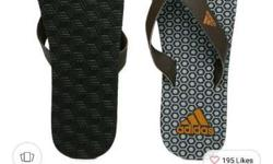 Pair Of Adidas Brown And Grey Beach Print Max Out Flip