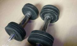 Pair Of Black-and-silver Dumbbells