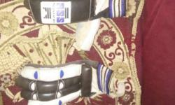 Pair Of Black-blue-and-white Ice Hockey Gloves