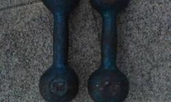 Pair Of Black 25lbs Dumbbells