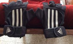 Pair Of Black And White Adidas Riding Gloves Only 2