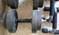 Pair Of Black Dumbbells n hard plastic pushup bar with