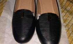 Pair Of Black Leather Smoking Loafers