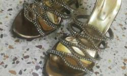 Pair Of Gold-colored Heeled Sandals