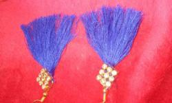 Pair Of Gold And Blue Fringe Earrings