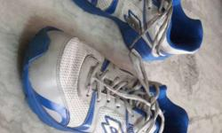 Pair Of Gray-white-and-blue Lotto Running Shoes ,size-9