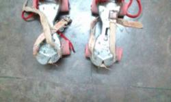 Pair Of Grey And Red Roller Blades
