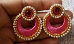 Pair Of Pink-gold-and-white Beaded Silk Thread Earrings
