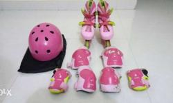 Pair Of Pink Inline Skates With Gear Set - Nice in