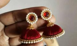 Pair Of Red-and-white Earrings