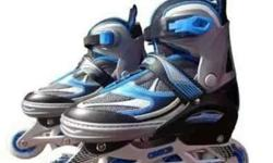 Pair Of Silver Roller Blades