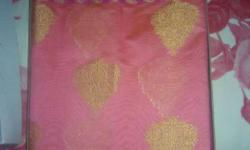 Pink And Gold-colored Textile