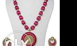 Pink And Gold Silk Thread Round Pendant Necklace With