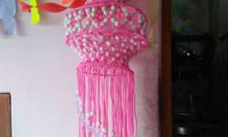 Pink And White Hanging Decor