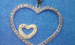 Platinum 925 & gold Double heart locket... Not used..