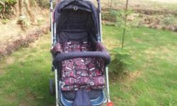 It is a dark blue colour beautiful 8 months old pram.