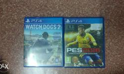 PS4 watch dogs 2 and PES 16 for sale.