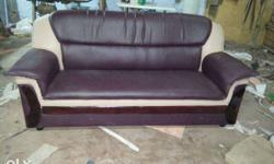 Purple And Beige Leather Sofa
