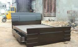 Queen-size Brown Wooden Storage Bed Frame