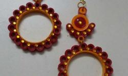 Long quilled earrings - festive colour