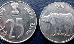 25 paisa coins from 1990 to 2000 in best condition.
