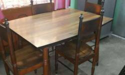 Rectangular Brown Wooden Table And Four Chairs..The