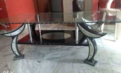 Rectangular Glass Top Coffee Table With Black Wooden