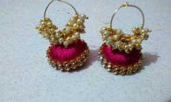 Red-and-brown Jhumka Earrings available in other colors