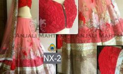 Red-and-pink Floral Gaghra Choli