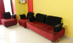 Red And Black Sofa Set