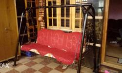 Red And Black Steel Swing Chair