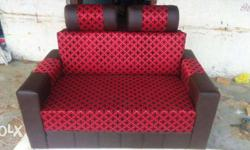 Red And Brown Patterned Sofa
