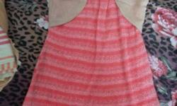 Red And Gray Stripe Scoop Neck Sleeveless Dress With