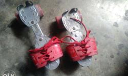 Red And Silver Roller Blades