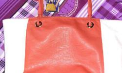 Red And White Caprese Leather Tote Bag