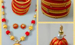 Red And Yellow Bangles , necklace And Jhumka Earrings