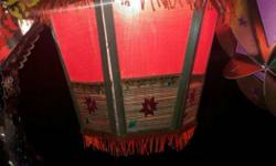 Red Green And Brown Floral Lantern