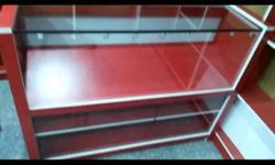 Red Wooden Frame Clear Glass Chiller Cabinet Free for